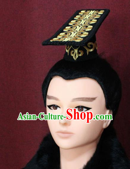 Chinese Traditional Royal Highness Hair Accessories Ancient Han Dynasty Chancellor Headwear for Men