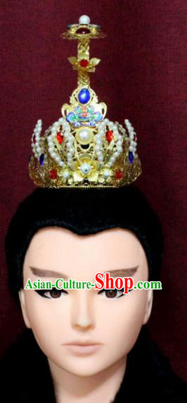 Chinese Traditional Swordsman Hair Accessories Ancient Han Dynasty Prince Golden Hairdo Crown for Men