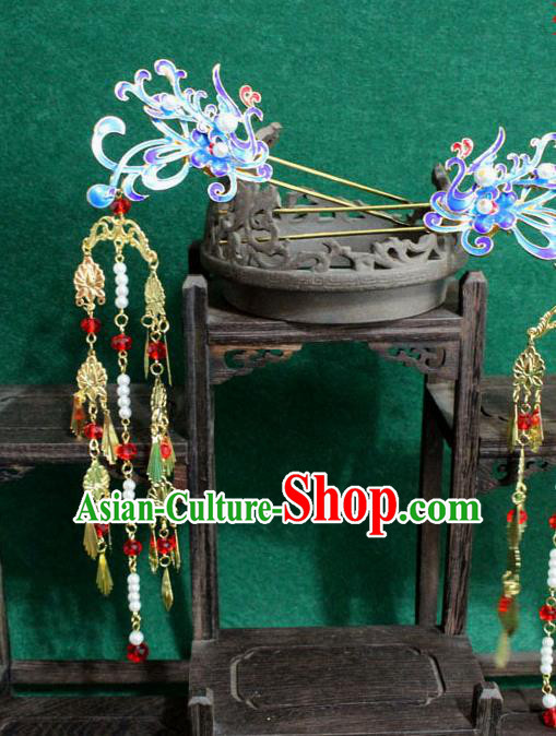 Chinese Ancient Empress Handmade Hair Accessories Blueing Phoenix Hairpins for Women