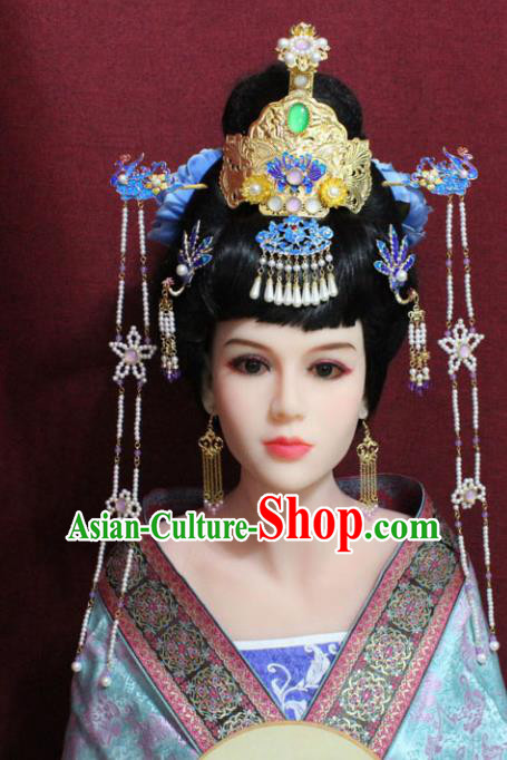 Chinese Traditional Handmade Hair Accessories Ancient Phoenix Coronet Blue Peony Hairpins for Women