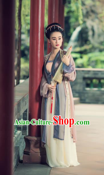 Chinese Ancient Song Dynasty Young Lady Embroidered BeiZi Costumes Complete Set for Women