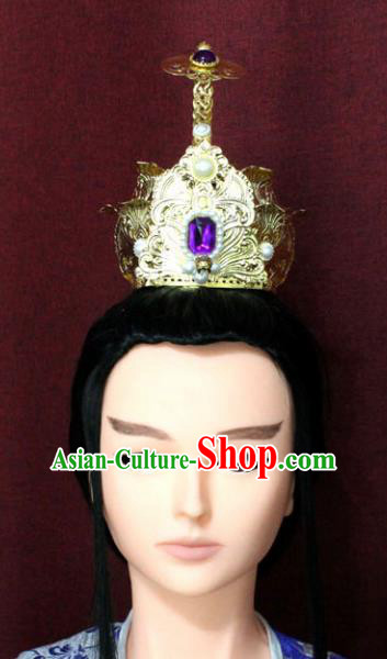 Chinese Traditional Tang Dynasty Swordsman Purple Crystal Hairdo Crown Ancient Prince Hair Accessories for Men