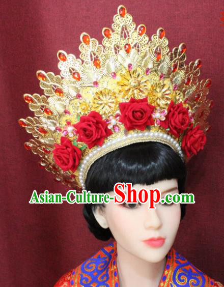 Chinese Handmade Tang Dynasty Imperial Consort Phoenix Coronet Ancient Court Hair Accessories Red Rose Hats for Women
