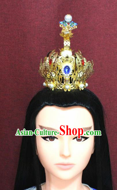 Chinese Traditional Tang Dynasty Swordsman Cloisonne Lotus Hairdo Crown Ancient Prince Hair Accessories for Men