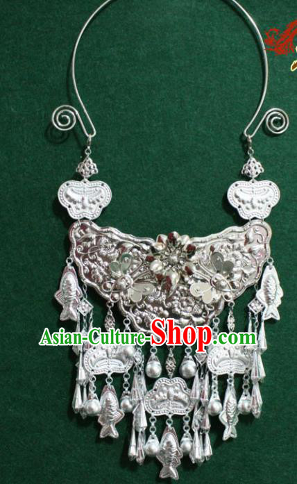 Asian Chinese Traditional Miao Nationality Carving Necklace for Women