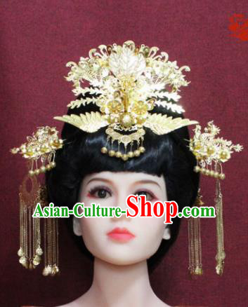 Chinese Handmade Phoenix Coronet Hairpins Ancient Imperial Consort Hair Accessories for Women