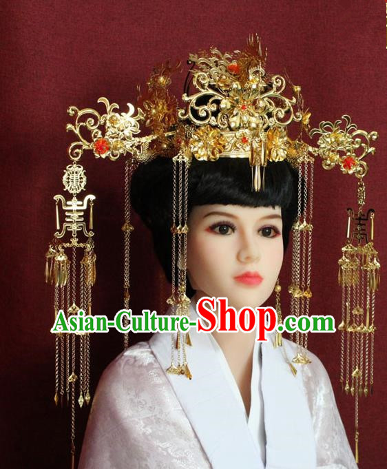 Chinese Handmade Hairpins Ancient Bride Phoenix Coronet Hair Accessories for Women
