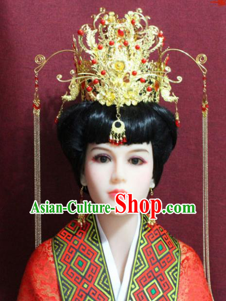 Chinese Handmade Palace Hairpins Ancient Bride Phoenix Coronet Hair Accessories for Women