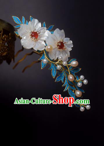 Chinese Handmade Princess Hanfu Shell Flowers Hair Clip Hairpins Ancient Hair Accessories for Women
