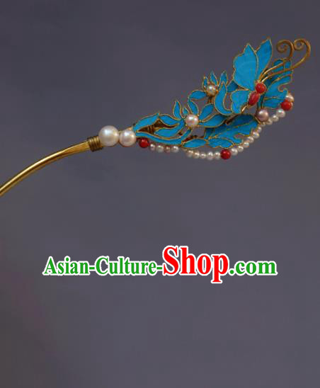 Chinese Ancient Qing Dynasty Tian-Tsui Hair Accessories Handmade Hairpins Hanfu Hair Clip for Women