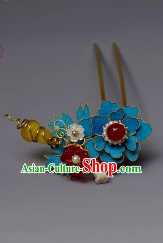 Chinese Ancient Qing Dynasty Flowers Hair Clip Hair Accessories Handmade Hairpins for Women