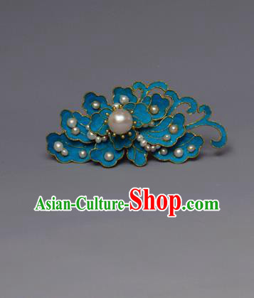Chinese Ancient Qing Dynasty Flowers Pearls Hair Comb Hair Accessories Handmade Hairpins for Women