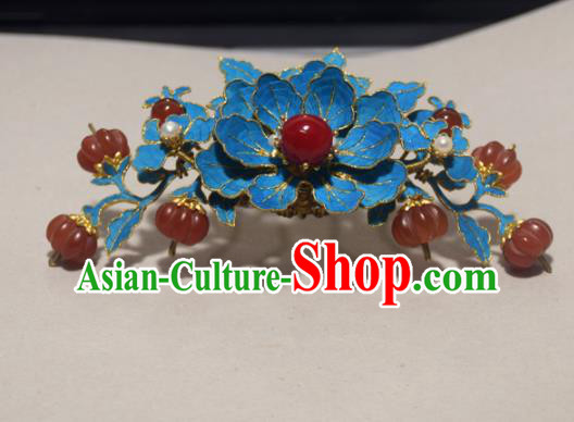 Chinese Ancient Qing Dynasty Hair Accessories Tian-Tsui Hair Comb Handmade Palace Hairpins for Women