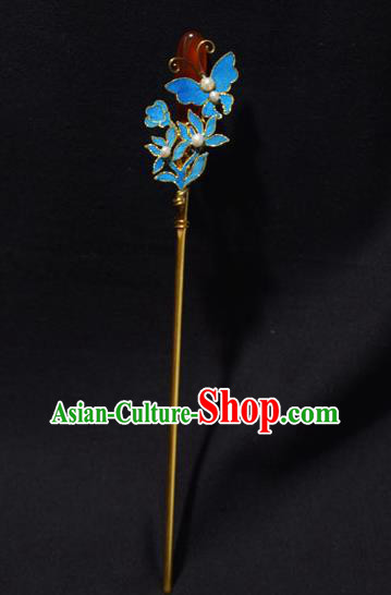 Chinese Ancient Qing Dynasty Hair Accessories Tian-Tsui Butterfly Hair Clip Handmade Palace Hairpins for Women