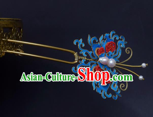 Chinese Handmade Princess Hanfu Hairpins Blueing Butterfly Hair Clip Ancient Hair Accessories for Women