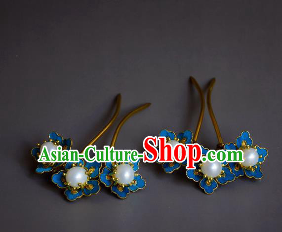 Chinese Handmade Hair Accessories Hanfu Hairpins Ancient Blueing Flowers Hair Clip for Women