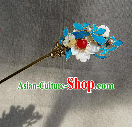 Chinese Qing Dynasty Shell Flowers Hairpins Hair Accessories Ancient Handmade Hanfu Hair Clip for Women