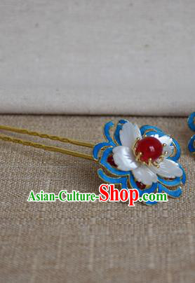 Chinese Qing Dynasty Agate Flowers Hairpins Hair Accessories Ancient Handmade Hanfu Hair Clip for Women