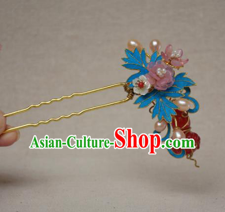 Chinese Qing Dynasty Agate Calabash Flowers Hairpins Hair Accessories Ancient Handmade Hanfu Hair Clip for Women