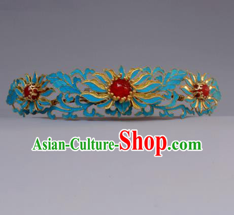 Chinese Ancient Qing Dynasty Princess Hairpins Hair Accessories Handmade Hanfu Blueing Lotus Hair Comb for Women