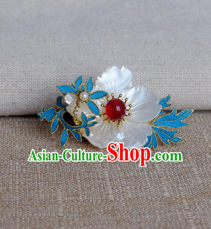 Chinese Handmade Hairpins Hair Accessories Ancient Hanfu Shell Flower Hair Claw for Women