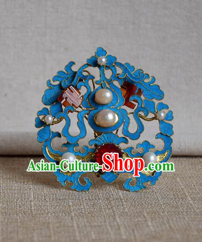 Chinese Qing Dynasty Agate Hair Comb Hairpins Hair Accessories Ancient Handmade Hanfu Hair Clip for Women