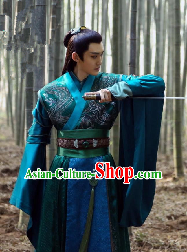 Traditional Chinese Ancient Prince Swordsman Blades Embroidered Costumes for Men