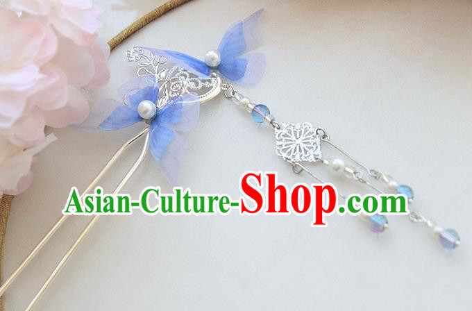 Chinese Ancient Hair Accessories Hanfu Blue Butterfly Hair Clip Handmade Hairpins for Women