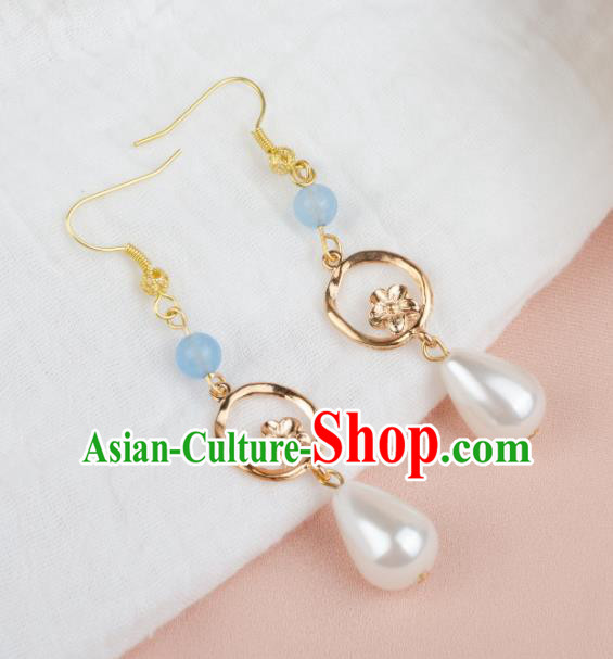 Asian Chinese Traditional Jewelry Accessories Hanfu Pearl Earrings for Women