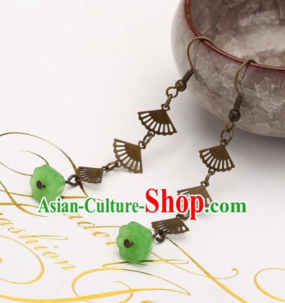 Asian Chinese Traditional Jewelry Accessories Hanfu Green Lotus Seedpod Earrings for Women