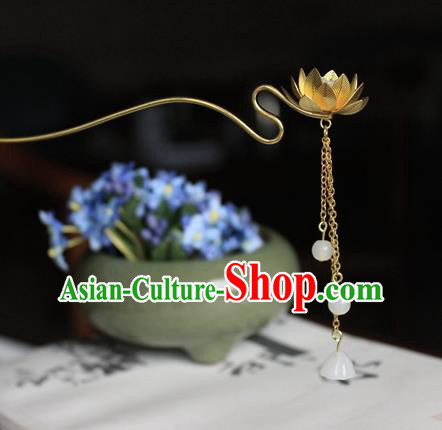 Chinese Ancient Hair Accessories Lotus Hair Clip Hanfu Handmade Hairpins for Women