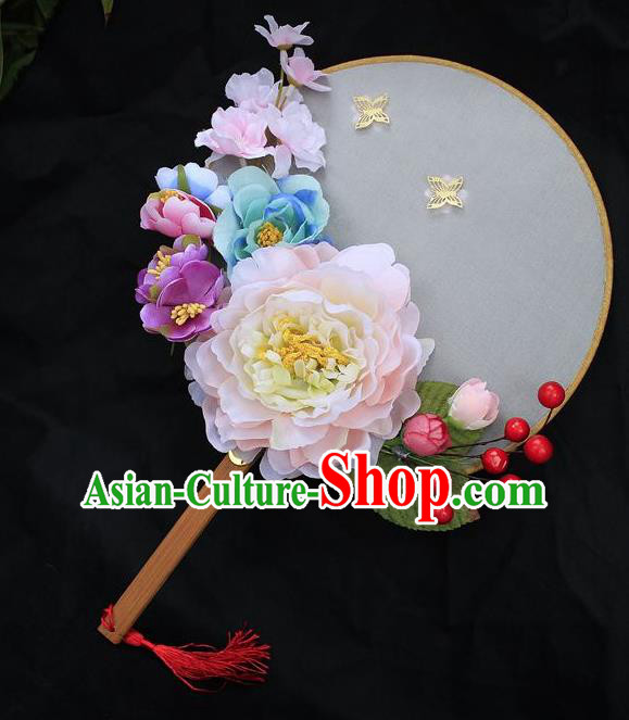 Chinese Traditional Palace Fans Ancient Wedding Pink Peony Round Fans for Women