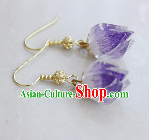 Asian Chinese Traditional Jewelry Accessories Hanfu Traditional Purple Flower Bud Earrings for Women