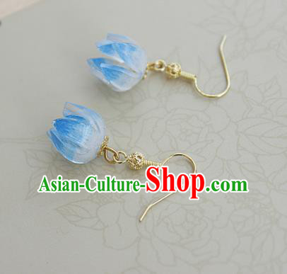 Asian Chinese Traditional Jewelry Accessories Hanfu Traditional Blue Flower Bud Earrings for Women