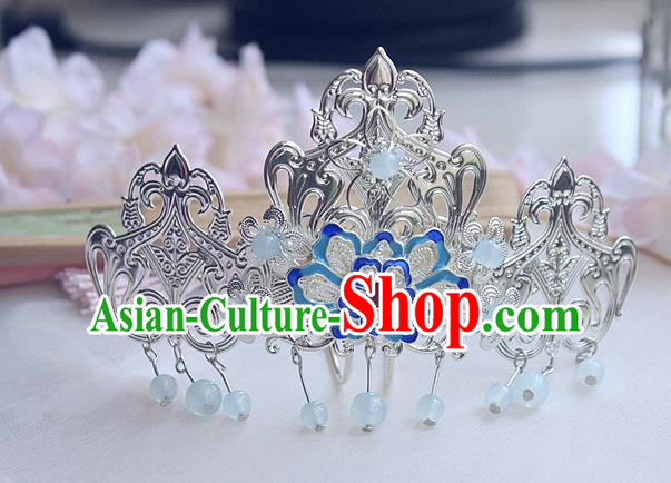Chinese Ancient Hair Accessories Hanfu Blueing Lotus Hair Comb Handmade Hairpins for Women