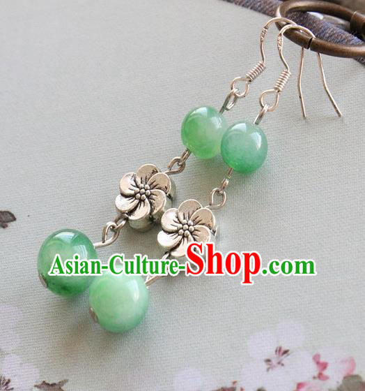 Asian Chinese Traditional Jewelry Accessories Hanfu Green Beads Earrings for Women