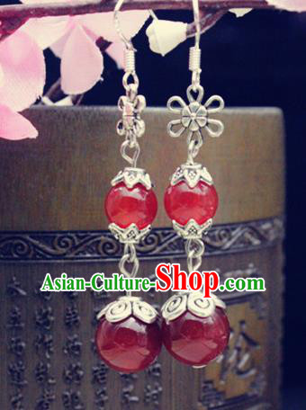 Asian Chinese Traditional Jewelry Accessories Hanfu Red Beads Earrings for Women
