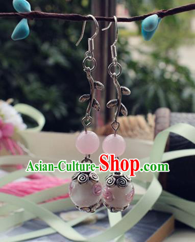 Asian Chinese Traditional Jewelry Accessories Hanfu Pink Beads Earrings for Women