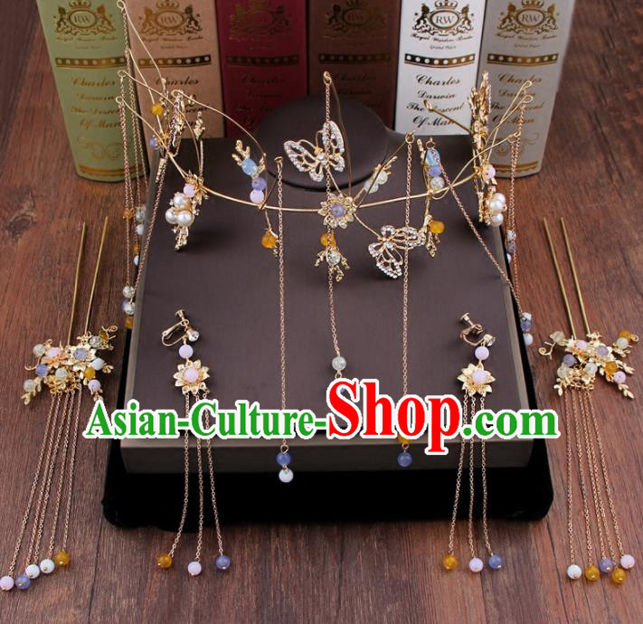 Chinese Handmade Ancient Hair Accessories Bride XiuHe Suit Tassel Phoenix Coronet Hanfu Hairpins for Women