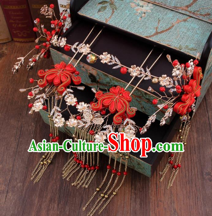 Chinese Handmade Ancient Hanfu Hair Accessories Bride XiuHe Suit Hair Clasp Hairpins for Women