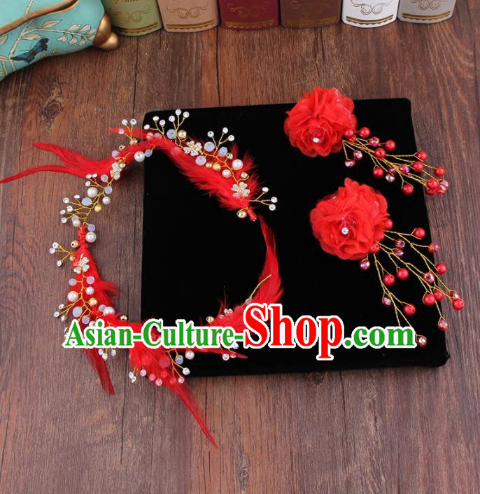 Top Grade Bride Hair Accessories Wedding Red Feather Hair Clasp Hair Claws for Women