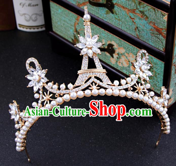 Top Grade Bride Hair Accessories Wedding Golden Royal Crown for Women