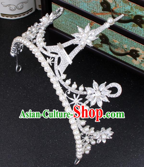 Top Grade Bride Hair Accessories Wedding Pearls Royal Crown for Women