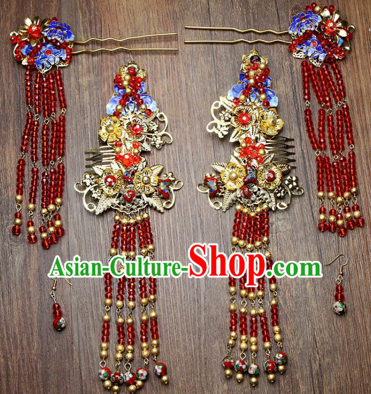 Chinese Ancient XiuHe Suit Handmade Blueing Hairpins Tassel Step Shake Hair Accessories Complete Set for Women