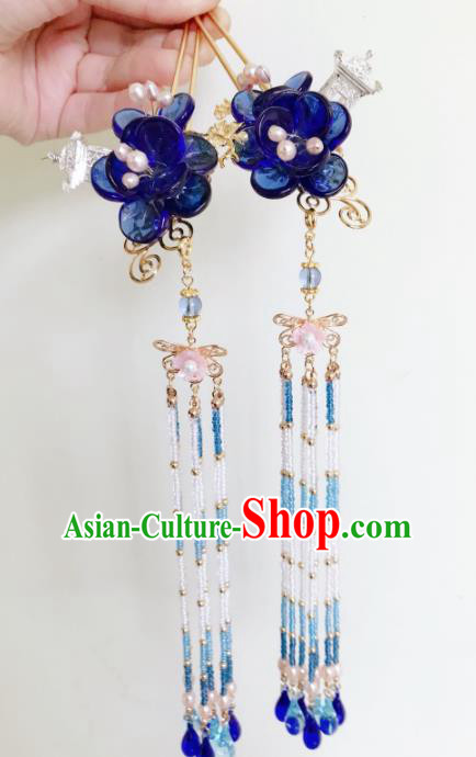 Chinese Ancient Handmade Blue Flowers Tassel Hairpins Hair Accessories Hair Clips for Women