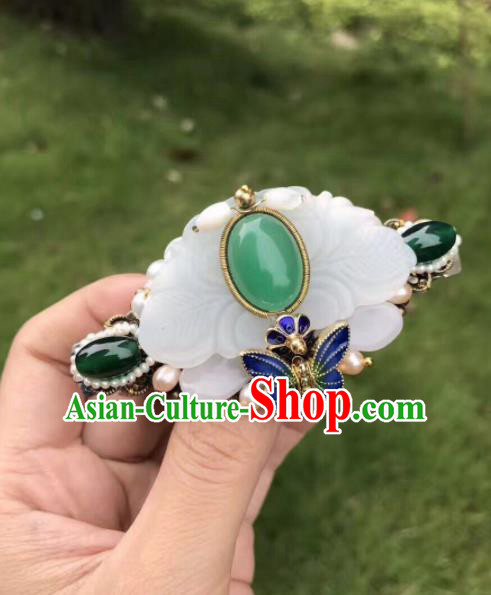 Chinese Ancient Handmade Palace Hairpins Jade Hair Accessories Hair Claw for Women