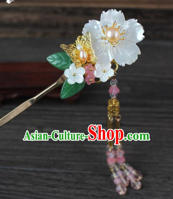 Chinese Ancient Handmade Palace Hanfu Hairpins Hair Accessories Shell Flower Hair Clip for Women