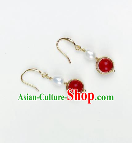 Top Grade Chinese Jewelry Accessories Wedding Hanfu Red Earrings for Women