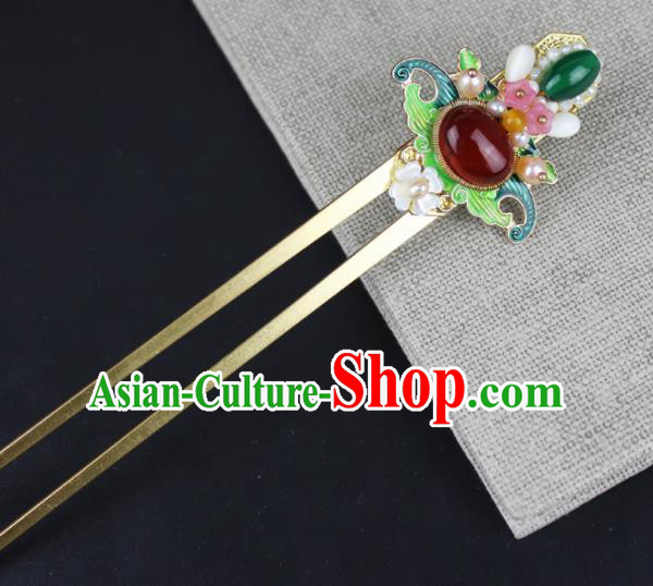 Chinese Ancient Handmade Hanfu Agate Hair Clip Blueing Hairpins Hair Accessories for Women