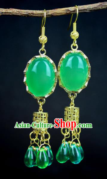 Top Grade Chinese Jewelry Accessories Wedding Hanfu Green Beads Earrings for Women